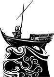 Christ on Boat at Galilee. Woodcut style expressionist images of Christ on a storm tossed boat on the sea of Galilee stock illustration