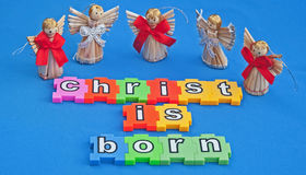 Christ is born. Angels announcing the message that Royalty Free Stock Photos