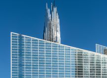 Christ Cathedral and crystal Crean Tower in Garden Grove, California. Garden Grove, California, USA - December 13, 2018: Crystal Christ Cathedral. Closeup of stock photos