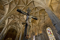 Christ, celling and column from Manueline style interior of Jeronimos Monastery, Belem. Stock Photos