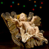 Christ child in the cradle. Nativity scene. Christmas traditions Stock Photography