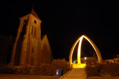 Christ Church cathedral. And whalebone arch, Stanley, capital of the Falkland Islands night shoot Royalty Free Stock Photography