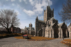 Christ Church Cathedral (Holy Trinity) in Dublin, Ireland. St. Patrick's Cathedral and blue sky in Dublin, Ireland, horizontal stock photography
