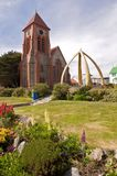Christ Church cathedral in Port Stanley. The whale bone arch in front of Christ Church cathedral in Port Stanley in the Falklands. The arch is one of the iconic stock photo