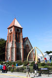 Christ Church Cathedral, Stanley, Falkland Islands. A whale bone arch stands as a monument in front of Christ Church Cathedral, Stanley, Falkland Islands royalty free stock image