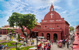 Christ Church Malacca and Dutch Square. Malacca,Malaysia - June 15, 2014: Afternoon view of the Christ Church Malacca and Dutch Square,tourists and local people stock image