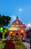Christ Church Malacca and Dutch Square. Malacca,Malaysia - October 26, 2012:Evening view of the Christ Church Malacca and Dutch Square,people can seen around the stock photo