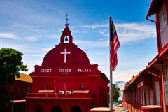 Christ Church Melaka and Malaysian flag Stock Images
