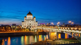Christ church moscow. In the night bridge river Royalty Free Stock Photos