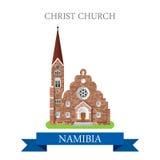 Christ Church in Namibia. Flat cartoon web vector vector illustration