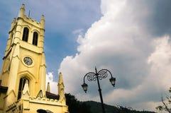 Christ church shimla shot against a cloudy sky during morning. Christ church in shimla shot against a cloudy sky during a beautiful morning. This famous landmark Royalty Free Stock Photos