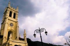 Christ church shimla shot against a cloudy sky during morning. Christ church in shimla shot against a cloudy sky during a beautiful morning. This famous landmark Stock Image