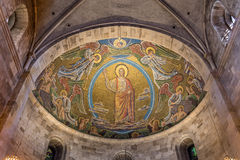 Christ on the clouds of heaven. July 2016. Mosaic in the apse of Lund cathedral stock photography