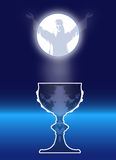 Christ and Communion symbol with Full Moon Stock Photography