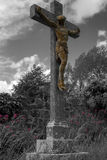 Christ on the cross. Jesus on a stone cross in black and white with highlighted pink flowers Royalty Free Stock Photo