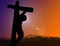 Christ on Cross Illustration. A silhouette of Christ on the cross at Calvary Royalty Free Stock Photos