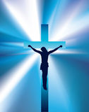 Christ on cross light beam background Stock Photography