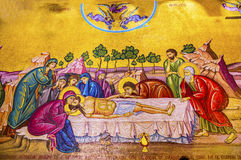 Christ Cross Mosaic Church Holy Sepulcher Jerusalem Israel. Chirst Taken Down from Cross Mary Joseph of Airmetihia Mosaic Church of the Holy Sepulcher Jerusalem royalty free stock photos