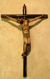 Christ on a cross in old mission. Christ on a cross in the chapel of the Santa Barbara California mission Royalty Free Stock Photography