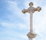 Christ cross. Old Christ cross on sky background Royalty Free Stock Photography