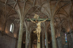 Christ Crucified sculpture in Jeronimos Monastery, Lisbon, Portu Royalty Free Stock Photos