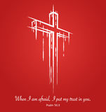 Christ crucifix cross symbol sketch on red background. Psalm 56:3. Christ crucifix cross symbol sketch on red background with scripture verse from Psalm 56:3 ` stock illustration