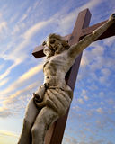 Christ crucifix under the sky. Old wooden christ crucifix under the sky 3d illustrated using 3ds max Stock Images