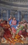 Christ driving the Traders from the Temple. Fresco in the basilica of Saint Andrew in Mantua, Italy Royalty Free Stock Photography