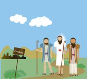 Christ at Emmaus. Jesus appeared to two disciples on the road to Emmaus Royalty Free Stock Photos