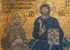 Christ enthroned, flanked by  Constantine IX Monomachus Stock Photos
