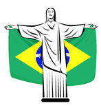 Christ Flag. Rio de Janeiro symbol Christ the Redeemer with Brazilian flag Royalty Free Stock Photography