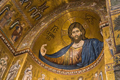 Christ fresco inside Monreale cathedral near Palermo, Sicily Stock Images