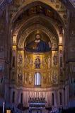 Christ fresco inside Monreale cathedral near Palermo, Sicily. Christ Pantocrator fresco inside Monreale cathedral or Duomo di Monreale near Palermo, Sicily Royalty Free Stock Image
