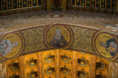 Christ fresco inside Monreale cathedral near Palermo Royalty Free Stock Images