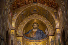 Christ fresco inside Monreale cathedral near Palermo Stock Image