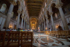 Christ fresco inside Monreale cathedral near Palermo Stock Photo