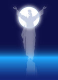 Christ with Full Moon Royalty Free Stock Photography