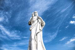 Christ of Havana, Cuba. Statue of Jesus de Nazarene, Christ, against a blue sky  and clouds, located at Havana, Cuba Royalty Free Stock Photo