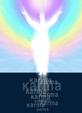Christ and Karma concept with text Royalty Free Stock Photos