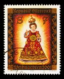 Christ `Kindl of Filzmoos `, 14th century, Christmas serie, circa 2001. MOSCOW, RUSSIA - AUGUST 18, 2018: A stamp printed in Austria shows Christ `Kindl of royalty free stock images