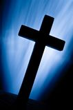 Christ kreuzen vorbei helle Bohnen Stockbild