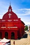 christ kyrklig landmarkmalacca malaysia melaka Arkivfoto