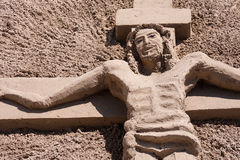 Christ made of sand. Sculpture of jesuchrist made of sand Royalty Free Stock Photography