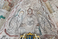 Christ in majesty, a gothic fresco in a Danish church. Christ sits on his throne in judgment, Over Draby church, Denmark, Nov 14, 2016 Royalty Free Stock Images