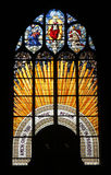 Christ in Majesty. Stained glass, Church of St. Gervais and St. Protais, Paris Royalty Free Stock Images
