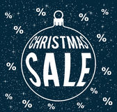 Christťmas sale concept. Christmas sale vector on snowy dark blue background with percentage signs, with christmas ball silhouette, sale poster Royalty Free Stock Image
