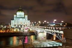 christ miła Moscow noc wybawiciela świątynia Zdjęcie Stock