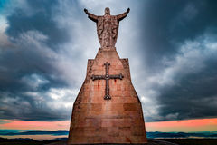 Christ of the Naranco, Christ of the Sacred Heart of Jesus. Christ of the Sacred Heart of Jesus, the watchman of Oviedo Stock Photos