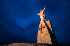 Christ of the Naranco, Christ of the Sacred Heart of Jesus. Christ of the Sacred Heart of Jesus, the watchman of Oviedo Royalty Free Stock Photos