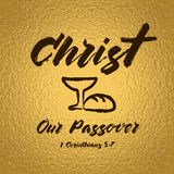 Christ our passover celebrating lettering card Royalty Free Stock Images